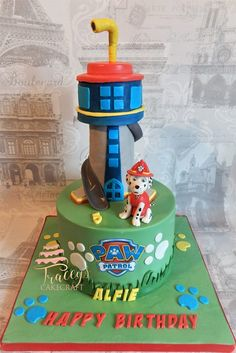 Paw Patrol Tower cake & edible Marshall