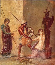 During the sack of Troy, Ajax son of Oileus (aka Ajax the Lesser) seizes Cassandra, who clings to a cult statue of Athena for protection. Fresco from the House of Menander, Pompeii.