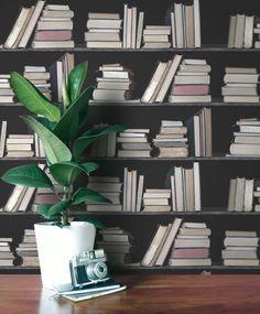 Wye dark vintage bookshelf wallpaper  http://shufflebotham.com/wallpaper/wye-vintage-bookshelf-wallpaper/