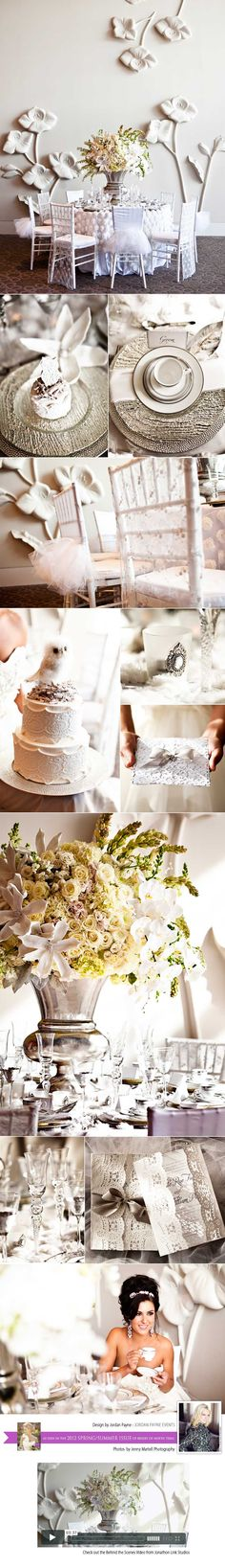White lace romance wedding tabletop design by Jordan Payne Events.  Photography by Jenny Martell Photography.  Venue Westin Galleria Hotel.  #wedding #design #white #romance