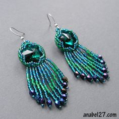 Beaded earrings with Swarovski really pretty and cool color mix