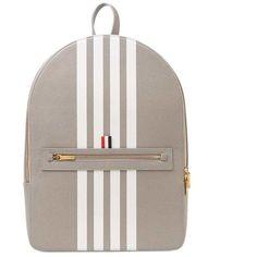 Thom Browne 4 Bar Stripe Backpack ($250) ❤ liked on Polyvore featuring bags, backpacks, brown bag, thom browne bag, colorful backpacks, handle bag and striped bag