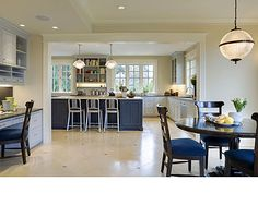 Love that blue color on island! Want it for a cabinet i'm painting! Sherwin Williams Regatta 6517