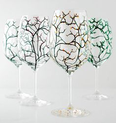 The Four Seasons Wine Glasses-Set of 4 Hand Painted Glasses by Mary Elizabeth Arts