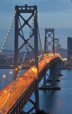 Bay Bridge, San Francisco to Oakland...gonna be there in a few weeks! YEEEEEEEEEE.