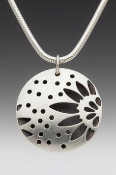 Domed+Hollow+Round+Sunflower+Necklace+by+sarahboodesigns+on+Etsy,+$120.00