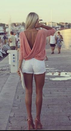 Open drop twist back blush top and white shorts and matching clutch