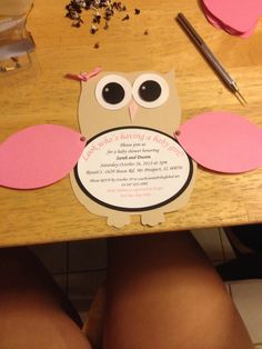 Owl Baby Shower Invitation - would be cute with grey/yellow owl with polka dot or chevron wings