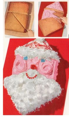 Dear Santa Cake – Merry Christmas from the Mid-Century Menu!--> I might have to have a vintage christmas this year, just so I can make this snazzy guy! Christmas Books, Retro Christmas, Christmas Goodies, Christmas Time, Christmas Recipes, Christmas Snacks, Xmas Food, Christmas Cooking, Holiday Recipes