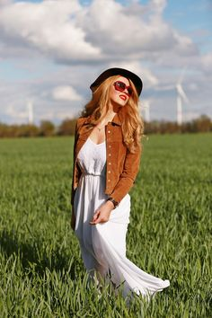 Brown #jacket, white #maxi dress, black hat, sunglasses. Spring #women fashion outfit clothing style apparel @roressclothes closet ideas