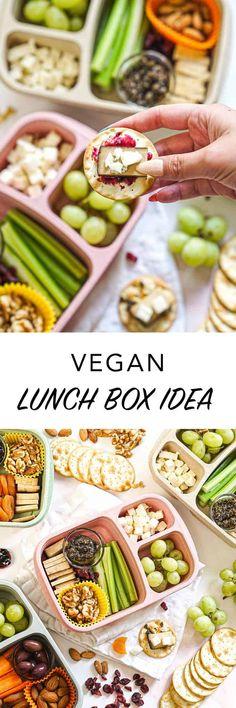 Vegan Lunch Box Idea Veg Recipes, Delicious Vegan Recipes, Plant Based Recipes, Vegan Lunch Box, Bento Box Lunch, Charcuterie Lunch, Edgy Veg, Healthy Options, Food Hacks