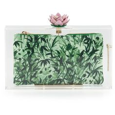 Charlotte Olympia Pandora Lotus Box Clutch, Clear (47,145 THB) ❤ liked on Polyvore featuring bags, handbags, clutches, borse, carteras, green purse, pouch purse, clear purse, green handbags and charlotte olympia