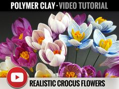 Video Tutorial - Realistic Crocus Flower from Polymer Clay Tutorials - Real Crocus Flowers - Step by Step Tutorial - Master Class - Fimo by SweetyBijou on Etsy