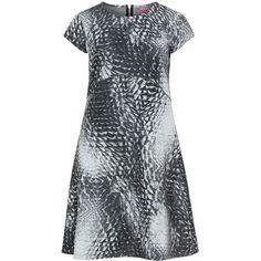 ViaDonatella Light-Grey / Anthracite Plus Size A-line printed jersey... (10.705 RUB) ❤ liked on Polyvore featuring dresses, plus size, jersey dress, plus size knee length dresses, women's plus size dresses, plus size a line dresses and plus size zipper dress