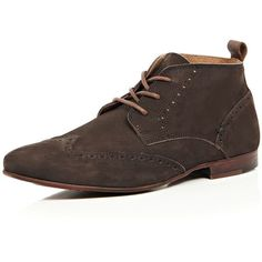 Brown nubuck leather brogue chukka boots ❤ liked on Polyvore featuring shoes, boots, wingtip shoes, brogue boots, brown wingtip shoes, laced boots and perforated boots