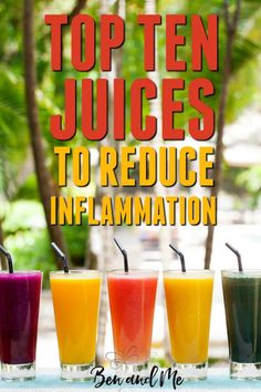 Top 10 Juices to Reduce Inflammation   If you are suffering with any inflammatory diseases, give juicing a try. Detox Diet Drinks, Juice Cleanse Recipes, Detox Juice Cleanse, Natural Detox Drinks, Healthy Juice Recipes, Juicer Recipes, Healthy Juices, Detox Juices, Detox Recipes