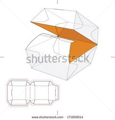 Squared Fast-Food Box with Blueprint Layout by Zudy and Kysa, via Shutterstock