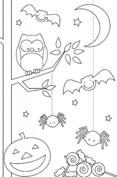 Fun Halloween Coloring Pages for Kids. They provide hours of at home fun for kids during the holiday season. Fun Halloween Coloring Pages for Kids. They provide hours of at home fun for kids during the holiday season. Theme Halloween, Halloween Crafts For Kids, Easy Halloween, Holidays Halloween, Fall Crafts, Holiday Crafts, Halloween Printable, Preschool Halloween, Halloween Games