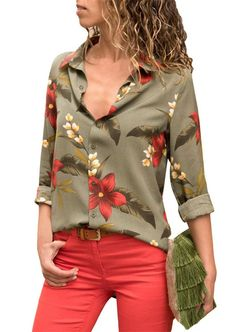 e1d379dc5e56d6 Lapel Single-Breasted Print Floral Long Sleeve Blouse Women's Casual,  Casual Tops For Women