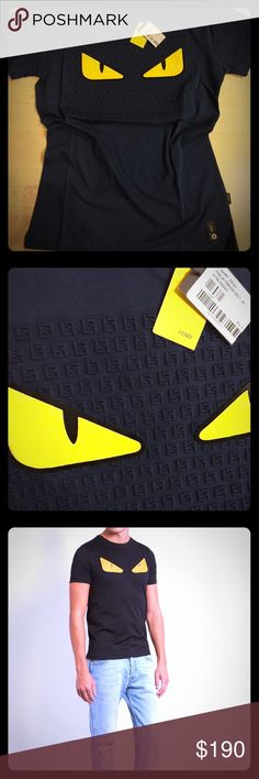 FENDI Bag Bugs T-shirt With a bold pair of monster eyes glaring from the front, this black cotton-jersey T-shirt can only be the work of Fendi. It's shaped for a slim fit. Fits true to size Fendi Shirts Tees - Short Sleeve