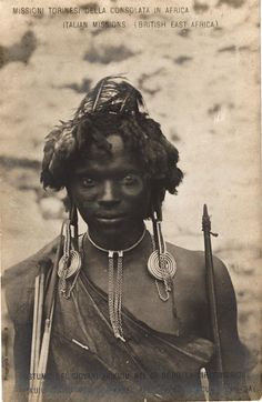 =[PE06B3]= Akikuyu types - young men's apparel after their circumcision day -  BY: Italian Missions (British East Africa) -1900s -