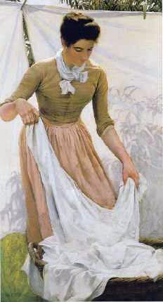 Charles Courtney Curran (American painter, 1861-1942) Hanging Out Linen