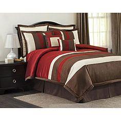 Lush Decor Red/ Brown Modern Stripe 8-piece Comforter Set