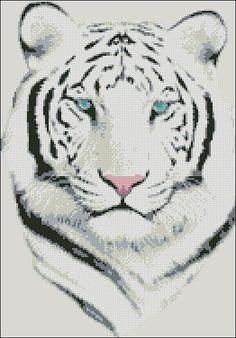 "Animals Cross-stitch pattern  ""White Tiger"" Pattern Name: White Tiger Designed By: Company: Cross-Stitch Club Used colors: 9 Fabric: Aida 14, Rue 131w X 187h Stitches Size(s): 14 Count,   23.77w X 33.93h cm 16 Count,   20.80w X 29.69h cm 18 Count,   18.49w X 26.39h cm 22 Count,   15.12w X 21.59h cm Format: PDF, colored symbols Price: 4,90 …"