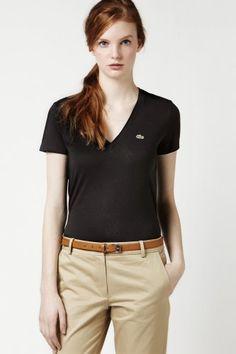 Short Sleeve Jersey V-neck T-shirt.