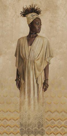 """Higher ground"" by Sara Golish  www.saragolish.com  #portrait #painting #gold #70s #pattern #wood #blackart #blackisbeautiful"