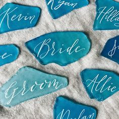 Items similar to Place cards, beach wedding decor, beach wedding table decor, sea glass place cards, coastal wedding decor on Etsy - Beach Wedding Tables, Beach Wedding Decorations, Beach Wedding Favors, Blue Beach Wedding, Turquoise Beach Weddings, Sea Wedding Theme, Coastal Wedding Centerpieces, Sea Glass Wedding, Autumn Decorations