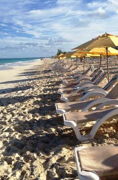 Grace Bay Beach, Turks & Caicos (and the famous yellow umbrellas of The Alexandra)