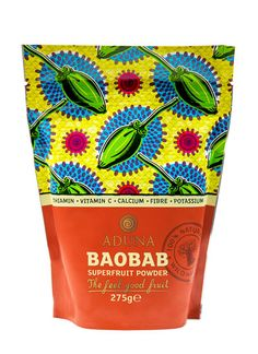 Aduna Baobab Superfruit Powder - A natural, fibre filled raw wholefood, a rich source of vitamin C, calcium, potassium and thiamin and one of the highest antioxidant capacities of any fruit in the world. Baobab Powder, Best Superfoods, Best Fruits, Vitamin C, Packaging Design, Whole Food Recipes, Health Tips, Benefit, Fiber