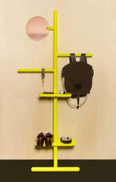 Camerino Valet Stand in Yellow fluoro, design Matteo Fogale and Joscha Brose. Interior Design Process, Modern Interior Design, Nomadic Furniture, Copper Mirror, Valet Stand, Take Off Your Shoes, Coat Stands, Retail Interior, Retail Design
