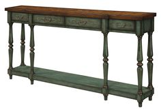 Scrolled Brown/Green Console Table