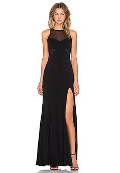 Jay Godfrey Barrington Mesh Inset Gown in Black | REVOLVE