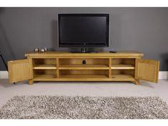 Arklow Oak Large TV Stand | Oak City Oak Corner Tv Stand, Small Tv Stand, Large Tv Stands, Coffee Table With Drawers, Oak Coffee Table, Large Tv Unit, Low Bookcase, 3 Drawer Bedside Table, Cupboard Shelves