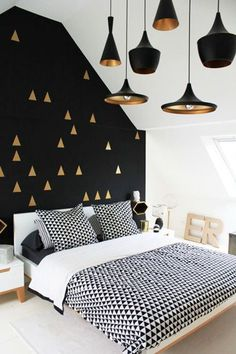 Black White and Gold Bedroom Decor . 30 Luxury Black White and Gold Bedroom Decor . Bedroom White Gold and Black Interior Love the Wall and Room, Interior, Home Bedroom, Bedroom Design, Home Decor, Room Inspiration, House Interior, Bedroom Inspirations, Home Deco