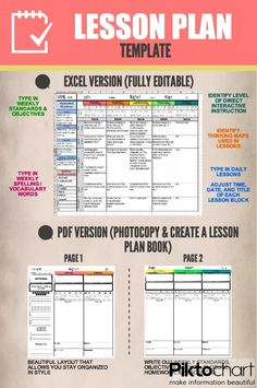 Create a digital or printed lesson plan book using these beautifully formatted lesson plan templates. (four styles and templates available! Teacher Planner, Teacher Binder, Teacher Organization, Teacher Tools, Teacher Resources, Teacher Lesson Plans, Facs Lesson Plans, Lesson Plan Templates, Unit Plan Template