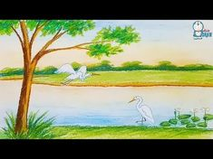 How to draw a scenery with TiTi oil pastels step by step Oil Pastel Drawings Easy, Oil Pastel Paintings, Oil Pastels, Colorful Drawings, Easy Drawings, Landscape Sketch, Watercolor Landscape, Landscape Art, Drawing Scenery