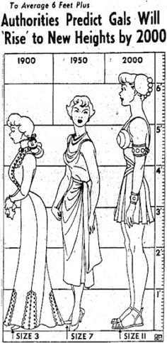 "Are we all tall yet? Smithsonian article: ""A 1950 news report predicted that women in the year 2000 would be ""more than six feet tall, wear a size 11 shoe, have shoulders like a wrestler and muscles like a truck driver. Vintage Advertisements, Vintage Ads, Jefferson City Mo, Warrior Princess, Tall Women, Interesting History, Retro Futurism, Back In The Day, Nostalgia"
