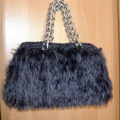 Evening clutch, Grey clutch, Shaggy handbag, Grey handmade bag, Shaggy purse, Trendy clutch, Woman accessory, Winter fashion, Christmas gift