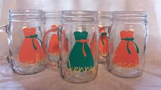Mason Jar Bridesmaids glasses. Wedding Party Mason Jars/ Bridesmaids/ Weddings/ Girls Night Out/ Bachelorette Party on Etsy, $10.00