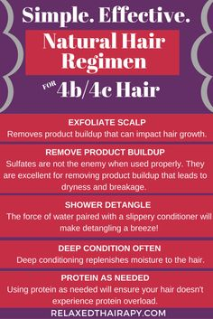 Simple yet effective natural hair regimen for growing long and healthy 4b/4c hair. #teamnatural #naturalhair #type4hair