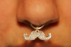 Thick Septum Cuff with Mustache - silver (fake nose ring) No Piercing Required - this cracks me up!