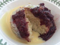 steamed jammy coconut sponge
