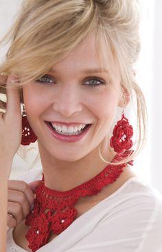 Sweet Irish Rose Necklace & Earrings...Free pattern!