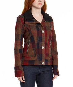 Love this Rust Plaid Bomber Jacket by CoffeeShop on #zulily! #zulilyfinds