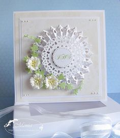 love all the texture, and of course, flowers-I think that the flowers are quilled. Card Making Designs, Paper Rosettes, Shabby Chic Cards, Embossed Cards, Die Cut Cards, Pretty Cards, Sympathy Cards, Card Tags, Scrapbook Cards