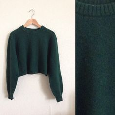 vintage teal cropped sweater by kawaiiivintage on Etsy